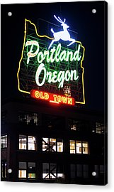 Acrylic Print featuring the photograph Portland Oregon White Stag Sign 1123 by Rospotte Photography