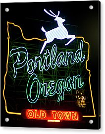 Acrylic Print featuring the photograph Portland White Stag Sign 102518 by Rospotte Photography