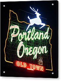 Acrylic Print featuring the photograph Portland Whitestag Neon Gold 119 by Rospotte Photography