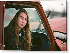 Portrait In A Truck Acrylic Print