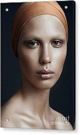 Portrait Of A Beautiful Girl With A Acrylic Print by Yuliya Yafimik