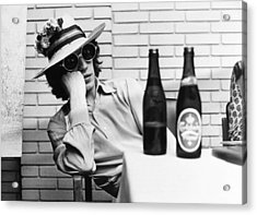 Portrait Of Mick Jagger With A Sun Hat Acrylic Print by Keystone-france