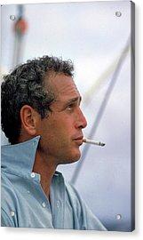Portrait Of Paul Newman Smoking Acrylic Print by Mark Kauffman