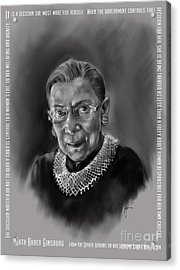 Portrait Of Ruth Bader Ginsburg Acrylic Print