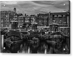 Portsmouth Tugboats At Dawnt In Black And White Acrylic Print