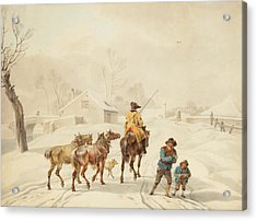 Postilion On Horse In A Winter Landscape. Acrylic Print