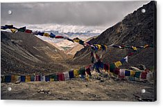 Acrylic Print featuring the photograph Prayer Flags In The Himalayas by Whitney Goodey