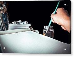 Preparing To Paint Acrylic Print