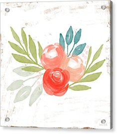 Acrylic Print featuring the mixed media Pretty Coral Roses - Art By Linda Woods by Linda Woods