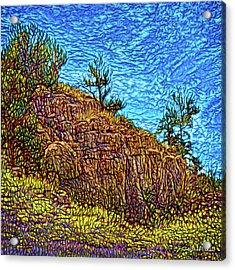 Acrylic Print featuring the digital art Primeval Red Cliffs by Joel Bruce Wallach