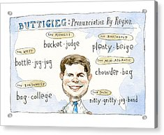 Pronunciation By Region Acrylic Print by Barry Blitt