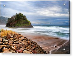 Proposal Rock On The Oregon Coast Acrylic Print