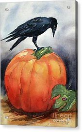 Pumpkin And Crow Acrylic Print