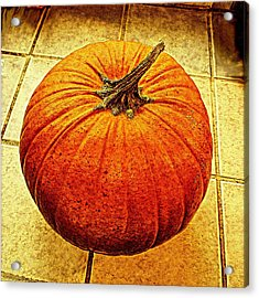 Pumpkin On Tile Acrylic Print by Keith Cassatt