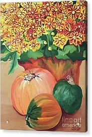 Pumpkin With Flowers Acrylic Print
