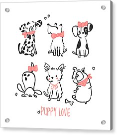 Puppy Love - Baby Room Nursery Art Poster Print Acrylic Print
