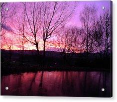 Purple Winter Sunset Over The Lake Acrylic Print
