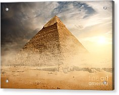 Pyramid In Sand Dust Under Gray Clouds Acrylic Print