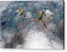 Raf Spitfires Swoop On Heinkels In Battle Of Britain Acrylic Print