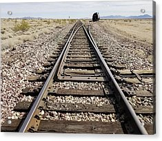 Railroad Mainline Arizona And California Railroad In The California Desert Acrylic Print