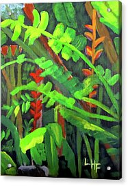 Acrylic Print featuring the painting Rain Forest Memories by Linda Feinberg
