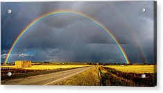 Rainbow Over Crop Land Acrylic Print