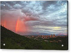 Rainbow Over Tucson Skyline Acrylic Print