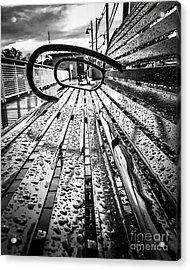 Rainy Days Bench Acrylic Print by JMerrickMedia