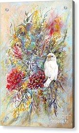 Rare White Sparrow - Portrait View. Acrylic Print