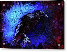 Acrylic Print featuring the mixed media Raven by Al Matra