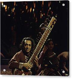 Ravi Shankar Performs On Tv Show Acrylic Print