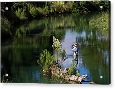 Rear View Of Woman Fly-fishing In The Acrylic Print