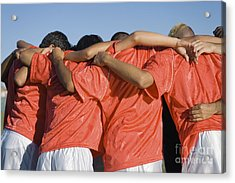 Rear View Of Young Soccer Players Acrylic Print by Sirtravelalot