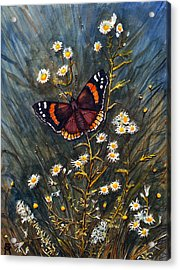Acrylic Print featuring the painting Red Admiral And Wild Aster by Katherine Miller