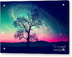 Red Alien Landscape With Alone Tree Acrylic Print