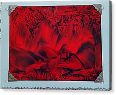 Red And Black Encaustic Abstract Acrylic Print