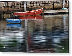 Red And Blue Row Boats On Rainy Day Acrylic Print by Adam Jones