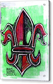 Red And Green Fleur De Lys Drawing Acrylic Print