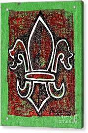 Red And Green Fleur De Lys Acrylic Print