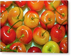 Red And Yellow Cherries On A Plate Acrylic Print by By Ken Ilio