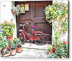 Acrylic Print featuring the photograph Red Bicycle Pienza by Dorothy Berry-Lound