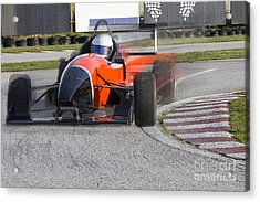 Red Bolide Driving At High Speed In Acrylic Print