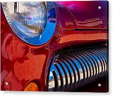Red Car Chrome Grill Acrylic Print
