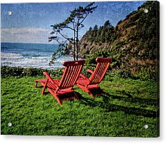 Red Chairs At Agate Beach Acrylic Print