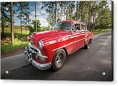 Acrylic Print featuring the photograph Red Classic Cuban Car by Mark Duehmig