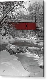 Red Covered Bridge Acrylic Print