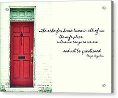 Red Door Quote Acrylic Print