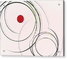 Red  Dot Within Circles Acrylic Print