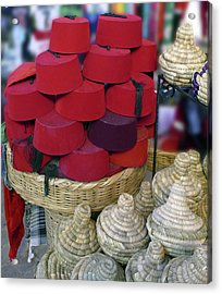 Red Fez Tarbouche And White Wicker Tagine Cookers Acrylic Print