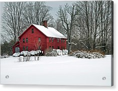 Red New England Colonial In Winter Acrylic Print